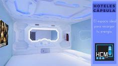 Conoce el interior del espacio ideal para recargar tu energía. Washing Machine, Cube, Home Appliances, Capsule Hotel, Hotels, Space, Interiors, House Appliances, Appliances