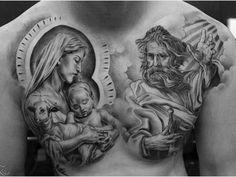 Full Chest Tattoos, Chest Piece Tattoos, Christ Tattoo, Jesus Tattoo, Half Sleeve Tattoos Designs, Tattoo Designs, Christian Tattoos, Christian Artwork, Religious Tattoos