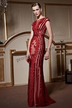 Red Elegant Sequin Lace Embroidery Tulle Evening Dress SY063