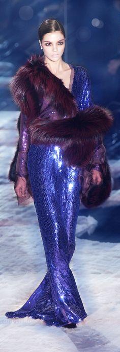 Gucci ~ Luxurious Sequin Royal Purple Gown w Fur Cape