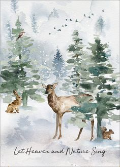 Heaven and Nature Folded Holiday Cards Winterlandschaft. Christmas Clock, Christmas Door Decorations, Diy Christmas Ornaments, Christmas Wreaths, Painted Christmas Cards, Handmade Christmas, Watercolor Christmas Cards, Watercolor Cards, Watercolor Paintings