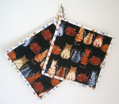 Quilted Potholders Set of 2  Cats on the Lookout by ISewTotes