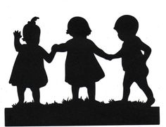 Sisters brother Child Silhouette die cut for scrap booking or card making