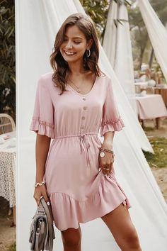 May 2020 - Ava Pink Ruffle Mini Dress - Fashion Movements Online Women's Clothing – Fashionmovements Pink Dress Casual, Pink Mini Dresses, Classy Dress, Casual Dresses For Women, Summer Dresses, Summer Outfits, Short Mini Dress, Short Sleeve Dresses, Plain Dress