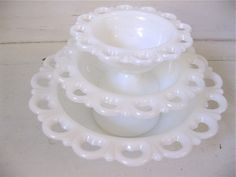 Vintage lace milk glass bowls - gorgeous for wedding decor! via fishlegs on Etsy