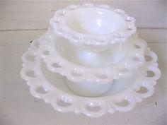 Vintage lace milk glass bowls - gorgeous for wedding decor! via fishlegs on Etsy
