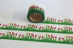 Bastelbedarf - Tape ✿ BLUMEN ✿ Tulpen Wiese Frühling B R E I T - ein Designerstück von bespokedesign bei DaWanda