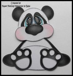 Paper piecing Panda PREMADE para páginas de scrapbook Babs