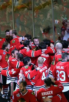 fed5ef818 Chicago Blackhawks players celebrate after winning the Stanley Cup Monday  night at the United Center in