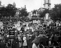 CND march London to Aldermaston.Large crowd in  Trafalger Square. June 22nd 1958. Rev.Canon.L. John Collins speaker. chairman of campaign