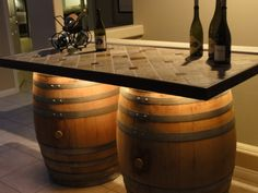 Our version of the wine barrel bar...I like the lighting under the slab..