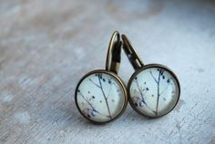 "Autumn """" Cabochon Earrings // leaf // minimalist // modern // neutrals…"