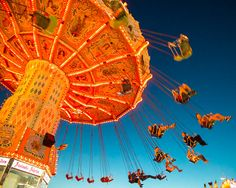 Carnival Photography, Carousel Photograph Night Photo Twilight Blue Red Orange Nursery Art Carnival Ride oth26