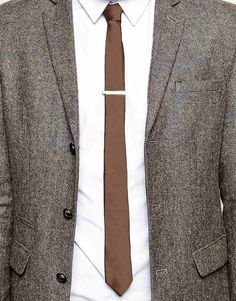 Image 3 of ASOS Slim Tie In Brown