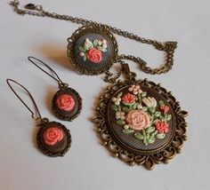 Embroidered Jewelry Pendant Necklace Cocktail by RedWorkStitches