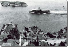 Halas vapuru Galatasaray adası ile Kuruçeşme arasından geçerken - 1950 ler