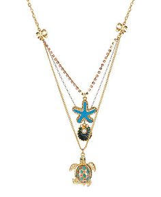 Betsey Johnson Necklace, Gold Tone Turtle Three Row Pendant Necklace - Fashion Jewelry - Jewelry & Watches - Macy's