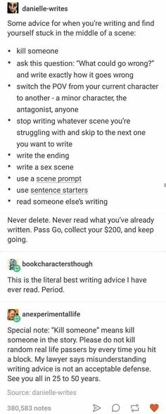 Writing advice for when you're stuck in writing mid-scene