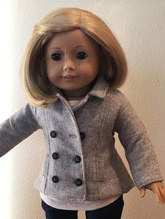 Piccadilly PeaCoat  Gray Wool for 18 American Girl Doll