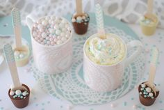 Make these pretty delicious bespoke hot chocolate spoons, ready to stir through hot milk. Chocolate Spoons, Chocolate Dipped, Hot Chocolate, Interior Stylist, Candy Making, Hampers, Pretty, Diy, Food