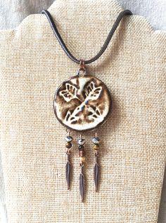 Ceramic Arrow Necklace, feather necklace tribal jewelry dream catcher necklace boho jewelry ceramic pendant necklace long necklace leather by FunNFiber on Etsy