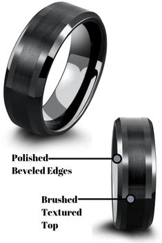 Mens black wedding ring with polished tapered edges and a black textured center. Mens black wedding rings seem to be the most popular. This men's wedding ring is durable and comfortable. Black Wedding Rings, Wedding Rings Simple, Black Rings, Tungsten Wedding Rings, Tungsten Carbide Rings, Wedding Bands, Rings For Men, Popular, Dream Wedding