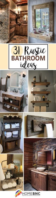 Reclaimed wood, galvanized metal, rough stone and cast iron are all part of rustic bathroom decor ideas. See the best designs and try them at home! * Check this useful article by going to the link at the image. #homedecorideas