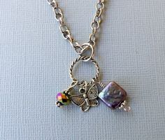 Butterfly and Pearl Charm Necklace