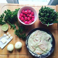 Poulet à la moutarde #poulet #haricoverts #radis #bienmanger #alimentation #déjeuner #pouletalamoutarde