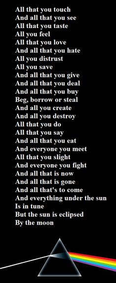 Dark Side Of The Moon -Roger Waters (PINK FLOYD) .these lyrics.One of the best albums of all time Music Love, Music Is Life, Rock Music, My Music, Music Wall, Music Quotes, Music Lyrics, Fallout Boy, Rock And Roll