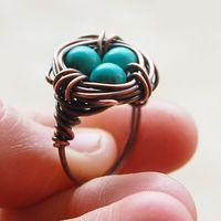 Bird nest ring Oxidized copper Turquoise by Karismabykarajewelry