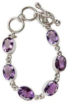 Silver Six Amethyst Bracelet Purple Gemstones, Silver Setting