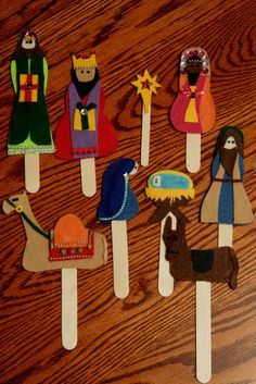 Mom and I crafted these felt Popsicle stick puppets for my nephew Kyler. The first night we got carried away and stayed up til midnight -.