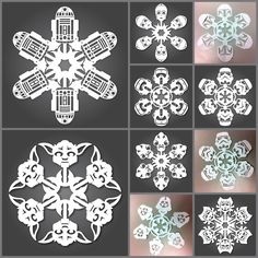 DIY Star Wars Snowflakes. 11 in all (I left out Ahsoka). PDF Downloads for each snowflake at Matters of Gray. #diy #crafts #paper #snowflakes #star wars #yoda #darth vader #C3po #r2d2 #christmas #holidays
