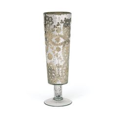 The antique etchings on the Ascending Mercury Vase are a stylistic addition to this classic cylindrical vase.