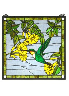 17 Inch W X 17 Inch H Hummingbird Stained Glass Window - 17 Inch W X 17 Inch H Hummingbird Stained Glass WindowA Golden throated, Emerald Green hummingbird sipsnectar from Brilliant Yellow flowers against a Crystalline sky in this charming Meyda Tiffany originalwindow, framed in Garden Green glass. A solid brasshanging chain and brackets are included. Theme: FLORAL ANIMALS Product Family: Hummingbird Product Type: WINDOWS Product Application: Color: VACRI IA EBDK PBNAWG Bulb Type: Bulb…