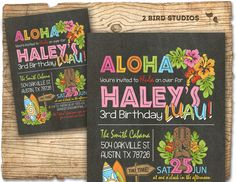 Hawaiian birthday invitation Luau birthday por 2birdstudios