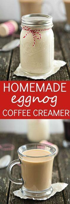 Homemade Eggnog Coffee Creamer Incredibly easy with only three ingredients. Great for homemade gifts! Enjoy a piece of eggnog cheesecake or even an eggnog cookie on the side! - Coffee Creamer - Ideas of Coffee Creamer Homemade Coffee Creamer, Coffee Creamer Recipe, Eggnog Coffee, Coffee Drinks, Eggnog Drinks, Cocktails, Starbucks Coffee, Eggnog Cocktail, Coffee Syrups