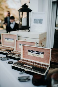 These cigars, displayed in a personalized case, are a very classy groomsmen gift.  | Belfair Blufton, SC Unique Wedding Favors, Unique Weddings, Real Weddings, Wedding Gifts, Wedding Show, On Your Wedding Day, Wedding Checklist Printable, Golden Hour Photos, February Wedding