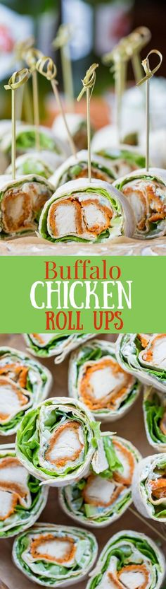 Buffalo Chicken Roll Up Appetizers: made with all-natural frozen chicken tenders tossed in hot sauce, then rolled up with a homemade blue cheese dip, celery, and crisp lettuce, blue cheese | http://www.savingdessert.com