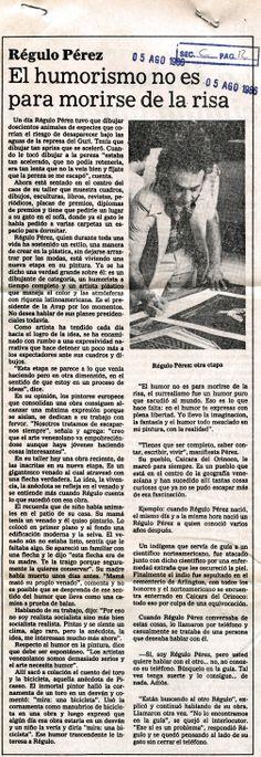 El humorismo no es para morirse de la risa. Publicado el 05 de agosto de 1986.