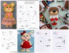Moldes de osos de fieltro para imprimir gratis Sewing Crafts, Sewing Projects, Projects To Try, Easy Diy Crafts, Crafts To Make, Bear Felt, Felt Templates, Love Craft, Felt Fabric
