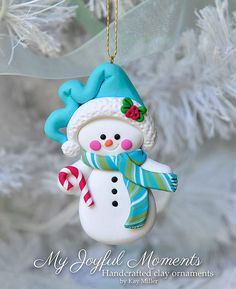 Snowman with blue scarf | Polymer Clay Ornament