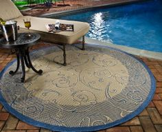 Ophelia & Co. Conlon Floral Natural/Blue Indoor/Outdoor Area Rug Rug Size: Rectangle x Indoor Outdoor Rugs, Outdoor Area Rugs, Outdoor Decor, Navy Blue Area Rug, Beige Area Rugs, Patio Rugs, Round Area Rugs, Natural Rug, Outdoor Settings