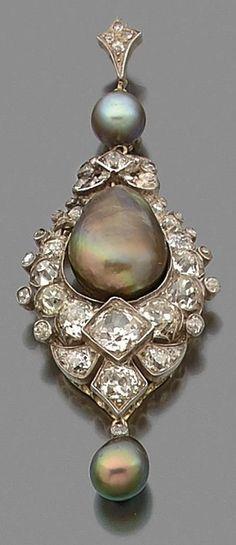 A rare natural pearl, diamond, gold and silver pendant, circa 1880. #antique #GreyPearl #pendant