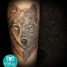 On the white side of the wolf's face, I think I'd change the eye color. Other then that, this is absolutely perfect.Love these type of Tattoos.