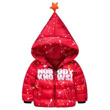 2016 New Fashion Print Lette Children Down Jacket Boy Star Cap Long Sleeve All-match Hot Coat Christmas Clothes 2-7 Age 4 Color(China (Mainland))