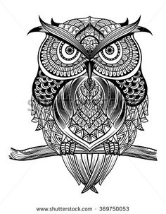 Vector hand drawn Owl sitting on branch. Black and white zentangle art. Ethnic patterned illustration for antistress coloring book, tattoo, poster, print, t-shirt. - stock vector