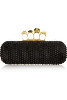Alexander Mcqueen, skull leather knuckle box clutch