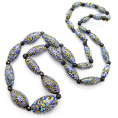 Image of Vintage Art Deco Matched Millefiori Star Blue & Yellow Cane Glass Bead Necklace